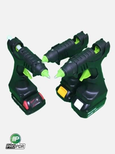 Photo showing 3 different battery operated glue guns, powered by Makita, Dewalt or Milwaukee batteries