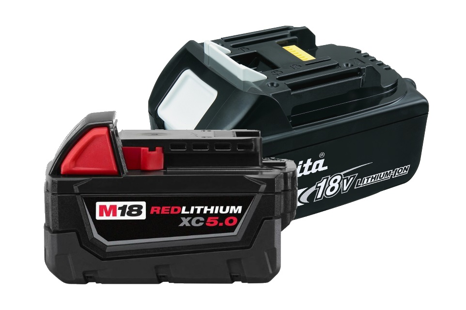 Examples of Power tool batteries used for PDR Lights